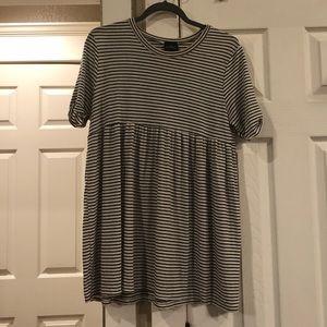 Audrey 3+1 black and cream striped babydoll dress